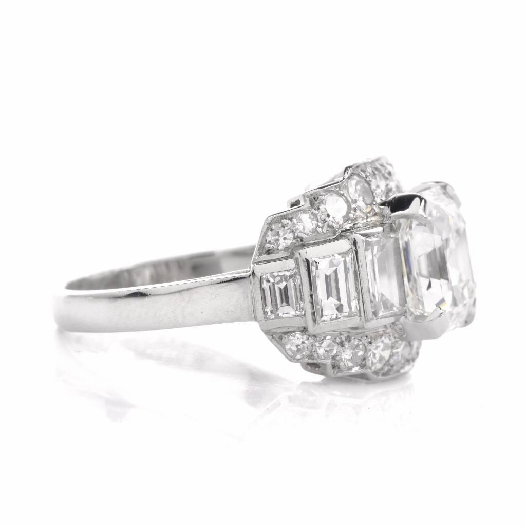 1950s Asscher Diamond Platinum Engagement Ring For Sale at 1stdibs