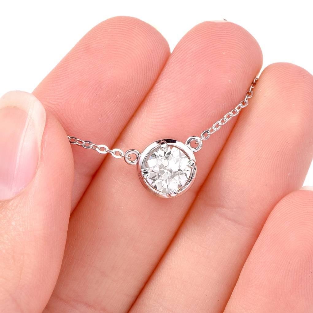 1.33 Carats Old European Diamond By Yard Platinum Choker Necklace ...