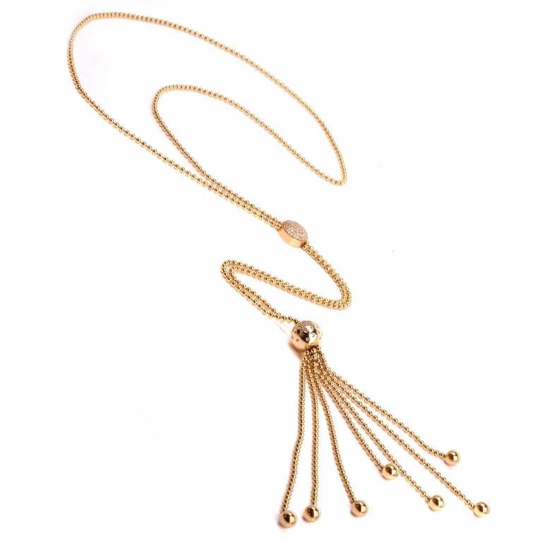 8299033dedd0a Cartier Draperie Diamond Gold Long Tassel Lariat Chain Necklace