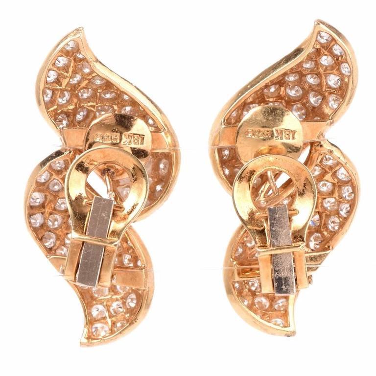 Diamond Gold Clip-Back Earrings 4