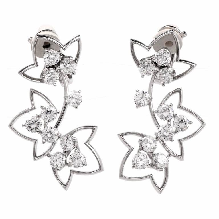 French Diamond Platinum Flower Drop Earrings