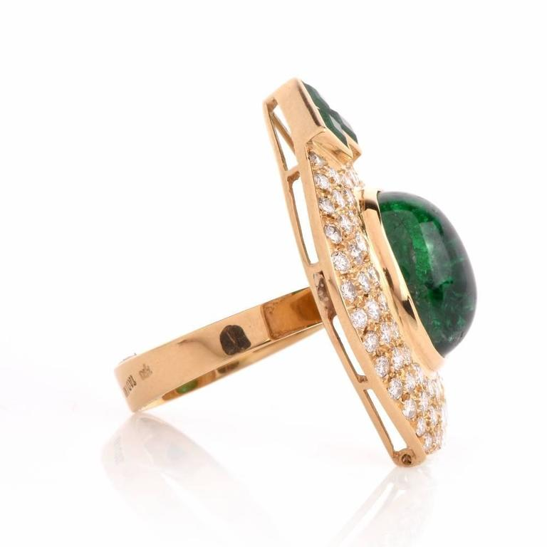 1980s Diamond Emerald Cluster Ring 6