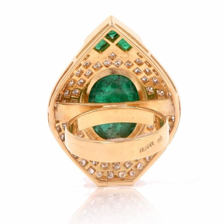 1980s Diamond Emerald Cluster Ring 7