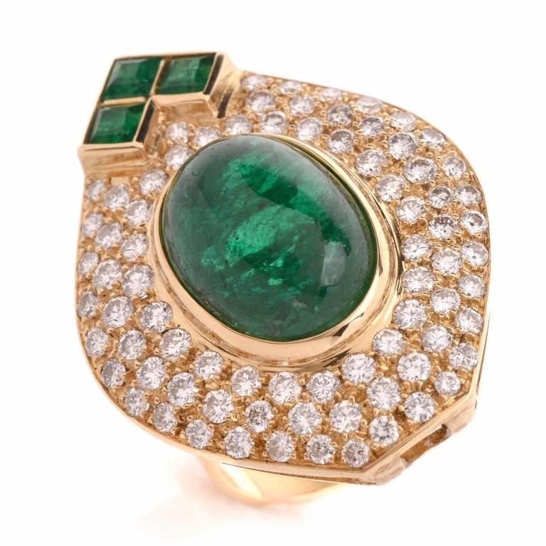 1980s Diamond Emerald Cluster Ring 5