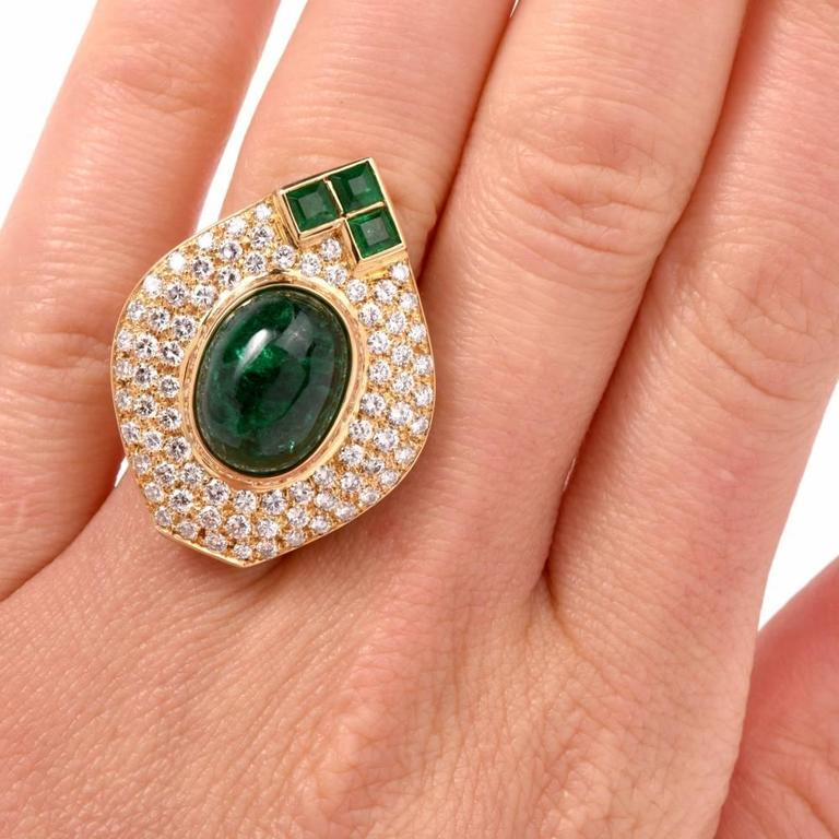 1980s Diamond Emerald Cluster Ring 8