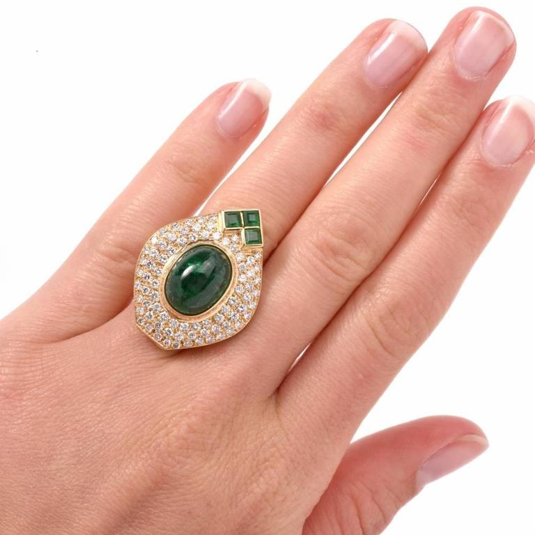 1980s Diamond Emerald Cluster Ring 3