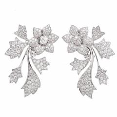 Georland France Diamond  Floral Clip-Back Earrings
