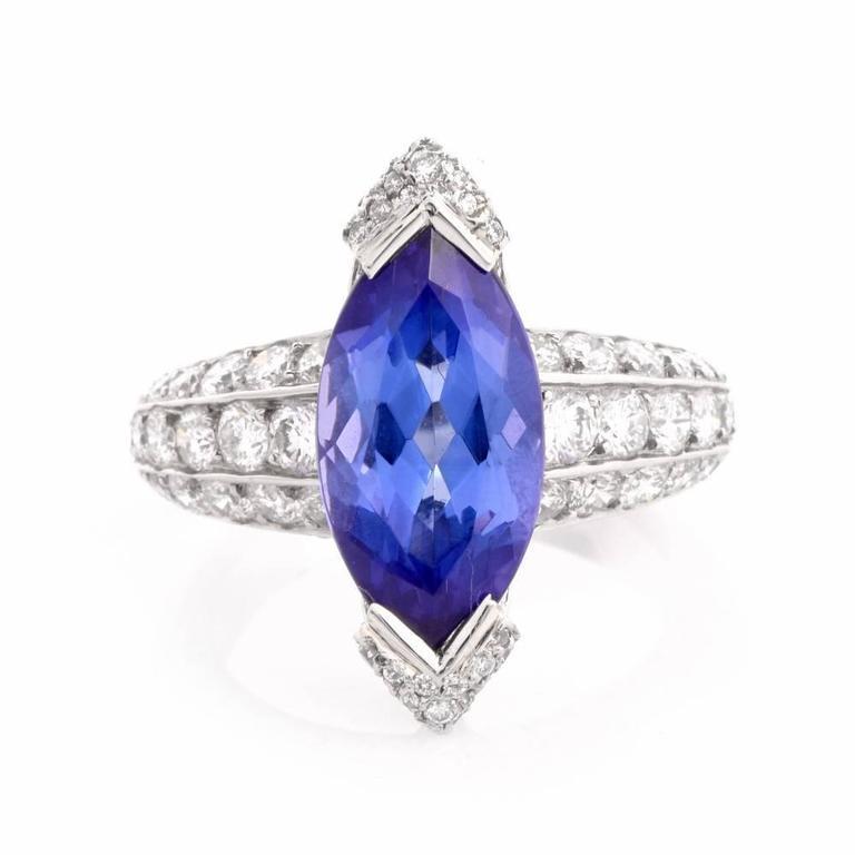 French 8.27 carat Marquise Tanzanite Diamond Platinum Ring In Excellent Condition For Sale In Miami, FL