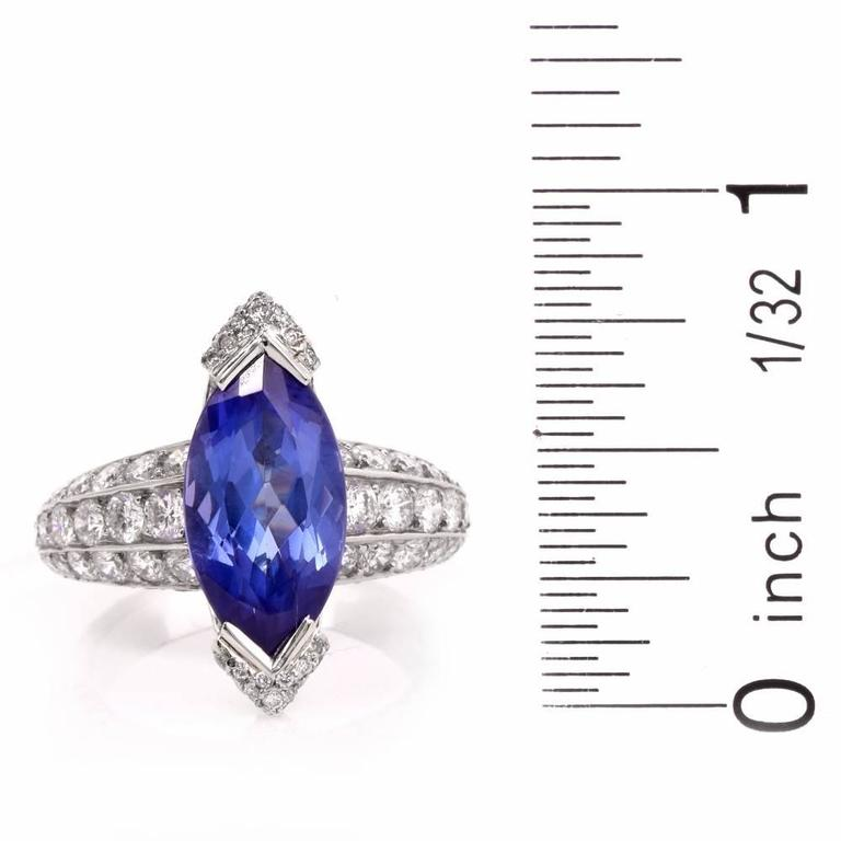 French 8.27 carat Marquise Tanzanite Diamond Platinum Ring For Sale 1