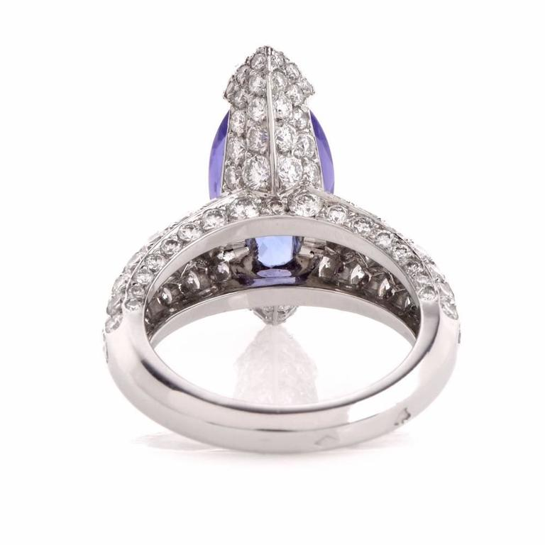 French 8.27 carat Marquise Tanzanite Diamond Platinum Ring For Sale 2