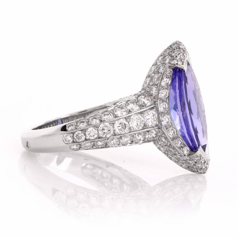 Women's French 8.27 carat Marquise Tanzanite Diamond Platinum Ring For Sale