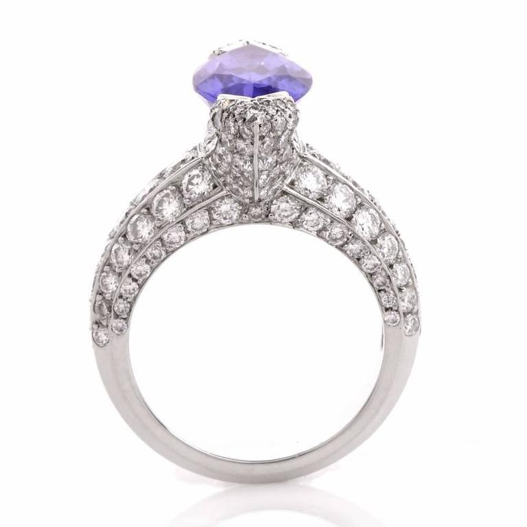 French 8.27 carat Marquise Tanzanite Diamond Platinum Ring For Sale 3