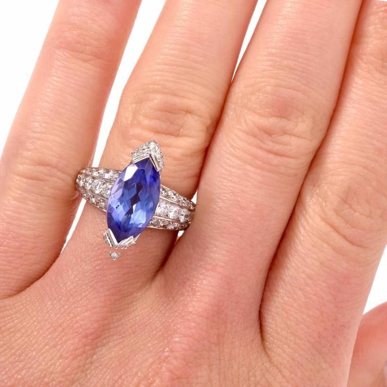 French 8.27 carat Marquise Tanzanite Diamond Platinum Ring For Sale 4