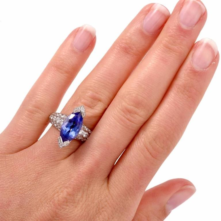 Marquise Cut French 8.27 carat Marquise Tanzanite Diamond Platinum Ring For Sale