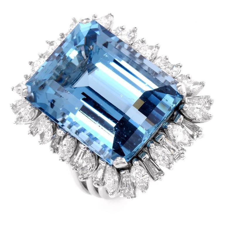 1960s santa maria aquamarine diamond cocktail ring for for Santa maria jewelry company