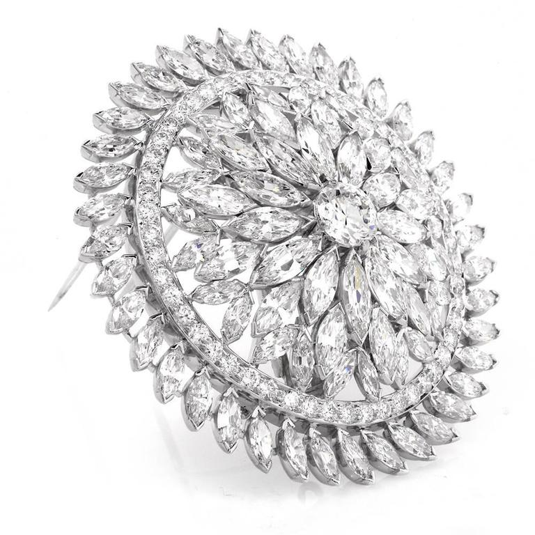 Diamond Platinum Lapel Brooch Pendant For Sale at 1stdibs