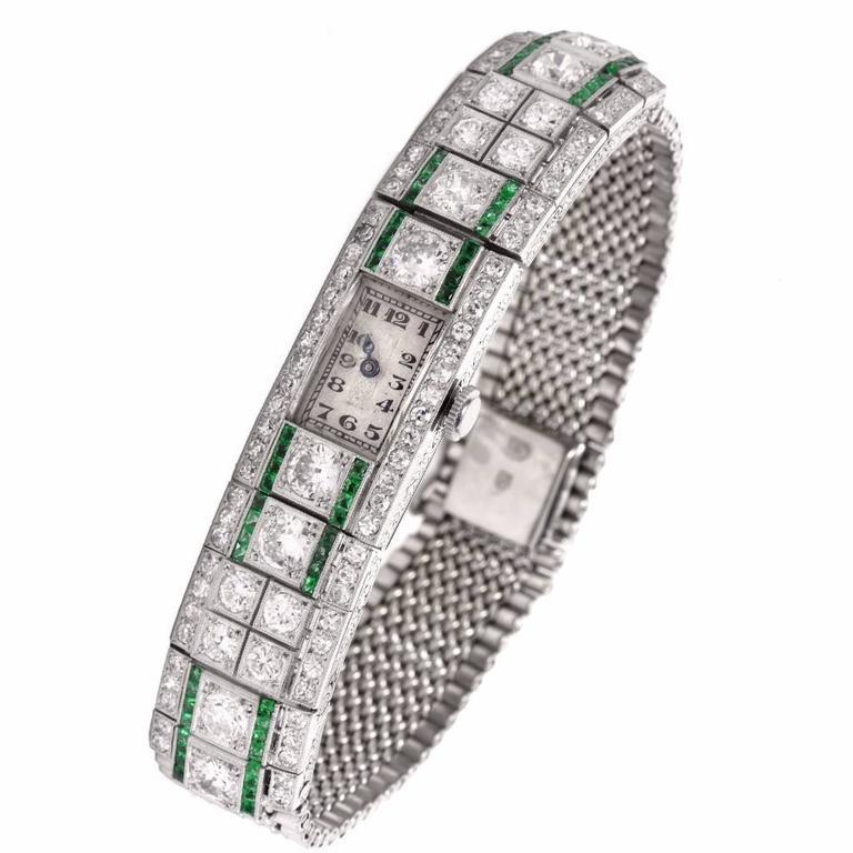 1920's Ladies Art Deco Platinum Diamond Emerald Wristwatch
