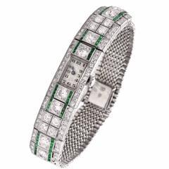 Ladies Art Deco Platinum Diamond Emerald Wristwatch 1920s