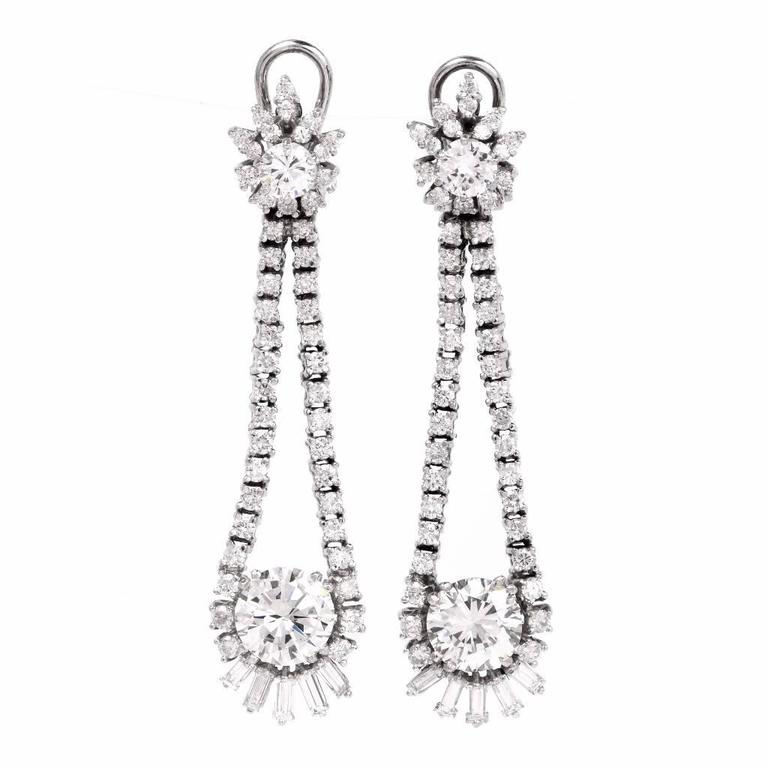 Long 6.65 Carat Diamond Chandelier Platinum Drop Earrings