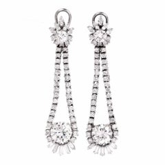 Long 6.65 Carat Diamond Chandelier Platinum Drop Earrings