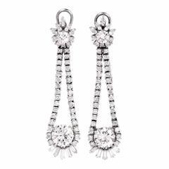 Lange 6,65 Karat Diamant Platin Tropfen Ohrringe