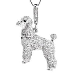 Diamond White Gold Poodle Pendant