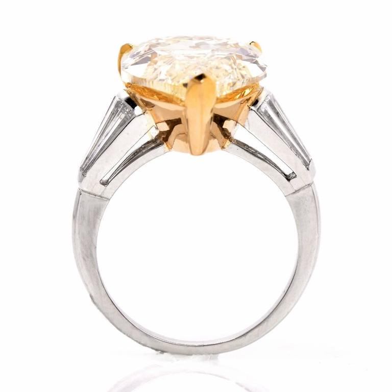 GIA 13.41 Carat Natural Fancy Pear Diamond with Baguette Platinum and Gold Ring For Sale 1