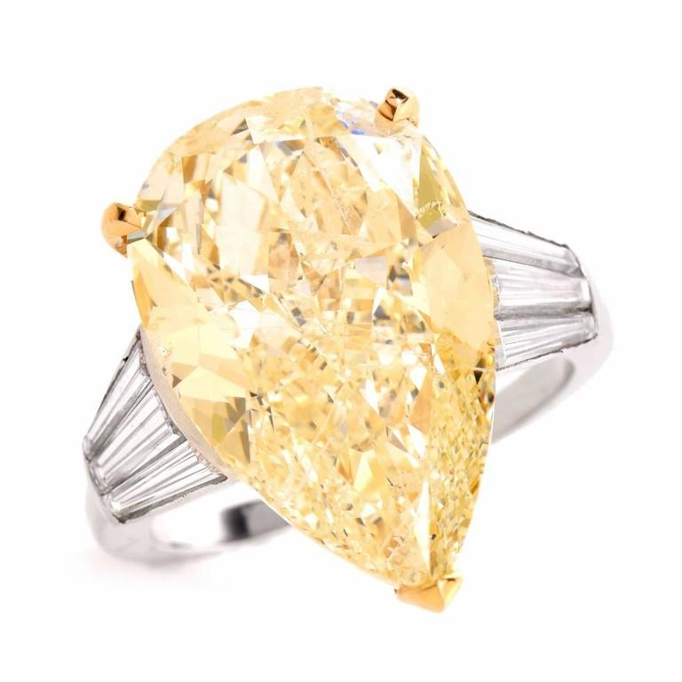 Pear Cut GIA 13.41 Carat Natural Fancy Pear Diamond with Baguette Platinum and Gold Ring For Sale