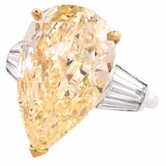 13.41 Carat GIA Certified Light Yellow Pear Diamond Platinum Ring