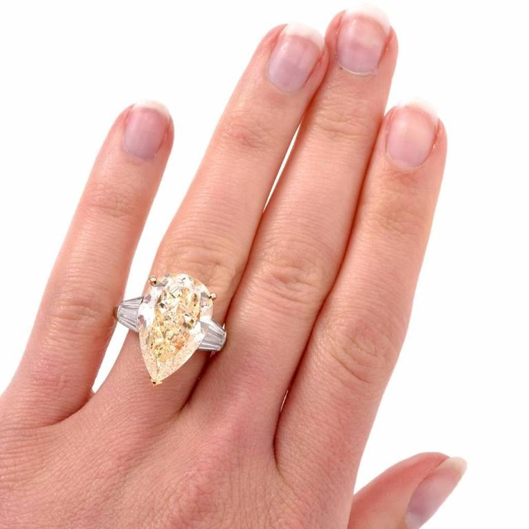Modern GIA 13.41 Carat Natural Fancy Pear Diamond with Baguette Platinum and Gold Ring For Sale