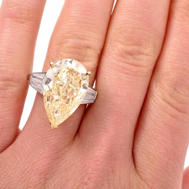 GIA 13.41 Carat Natural Fancy Pear Diamond with Baguette Platinum and Gold Ring In Excellent Condition For Sale In Miami, FL
