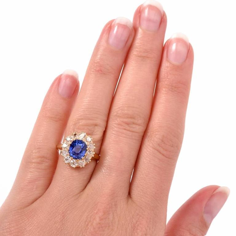 1890s Antique Certified Ceylon Sapphire Diamond Ring In Excellent Condition For Miami Fl