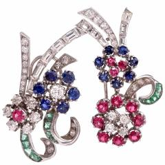 1940s Multi-Gem White Gold Floral Bouquet Double Clip