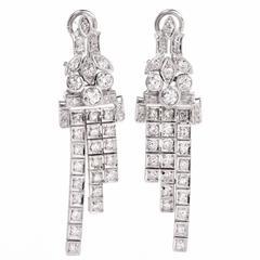 Art Deco Diamond Platinum Cascading Pendant Earrings