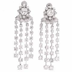 Sparkling Cascading Diamond Platinum Chandelier Earrings