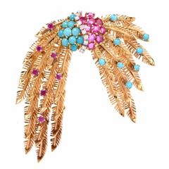 1950s Ruby Turquoise Diamond Gold Feathers Brooch Pin