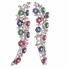Multi Gem White Gold Floral Double Clip Lapel Brooches