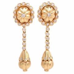 Etruscan Revival Style Diamond Gold Pendant Earrings
