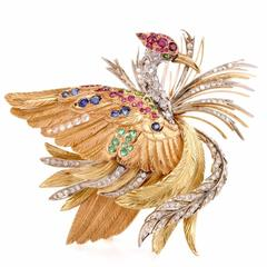 E. Serafin Retro Multi-Gem Tricolor Gold Bird Pin Brooch