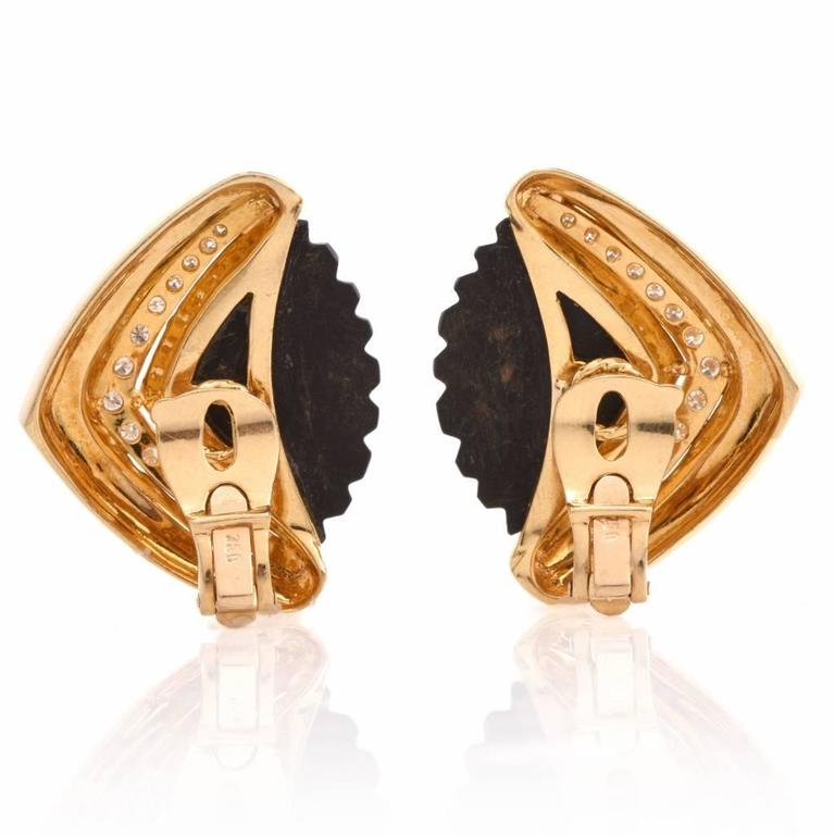 1960s Diamond Carved Onyx Gold Clip-On Earrings 3