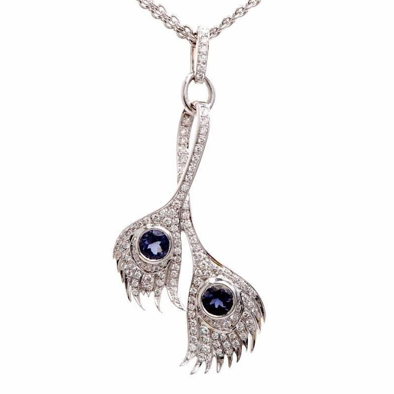 Carrera y Carrera Peacock Collection Diamond Tanzanite Gold Pendant Necklace
