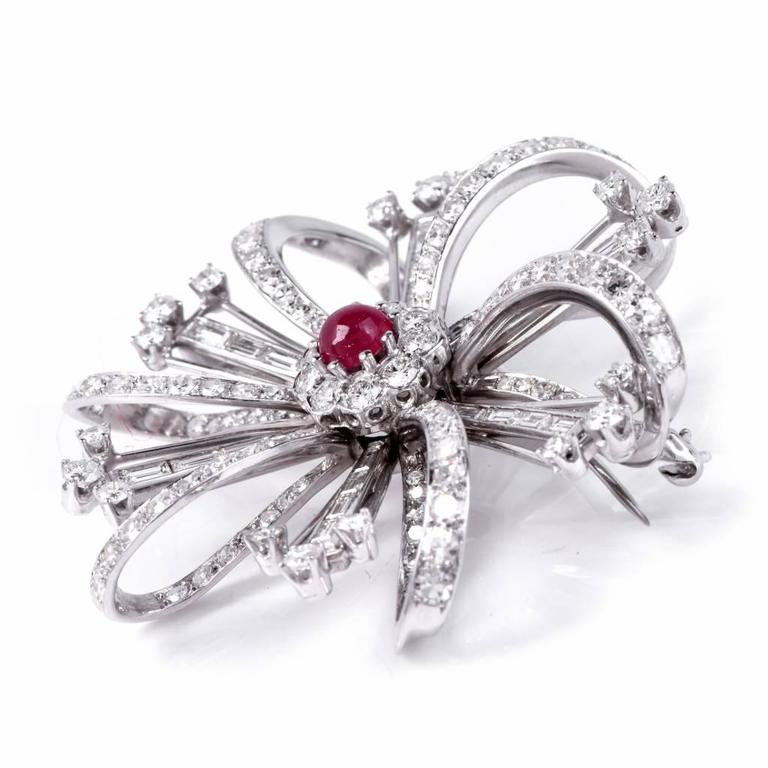 Women's Ruby Diamond Platinum Flower Brooch Pin For Sale