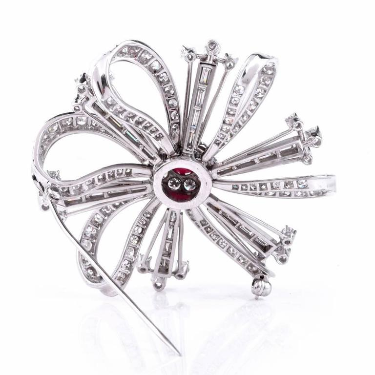 Ruby Diamond Platinum Flower Brooch Pin For Sale 1