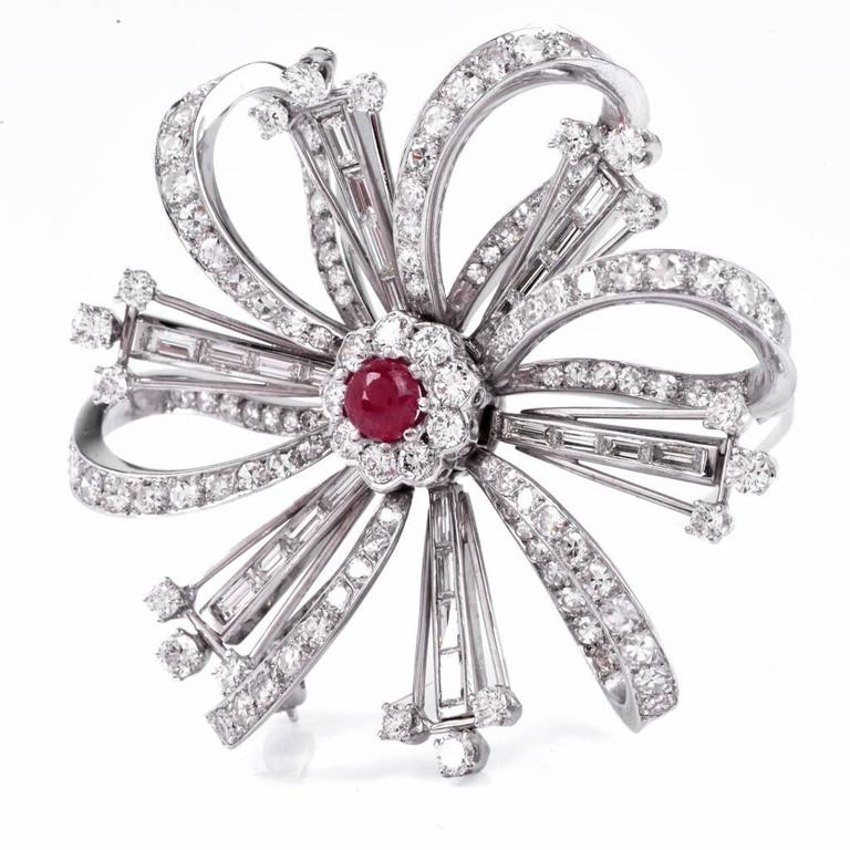 Ruby Diamond Platinum Flower Brooch Pin For Sale 2