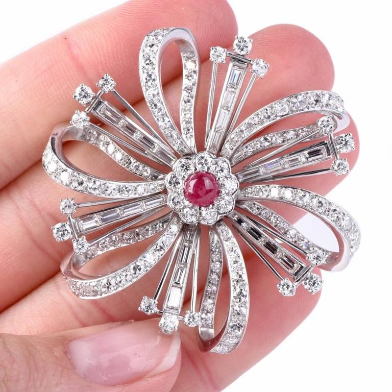 Ruby Diamond Platinum Flower Brooch Pin In Excellent Condition For Sale In Miami, FL