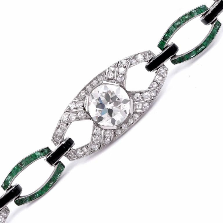 Antique Art Deco Onyx Emerald Diamond Platinum Link Bracelet 2