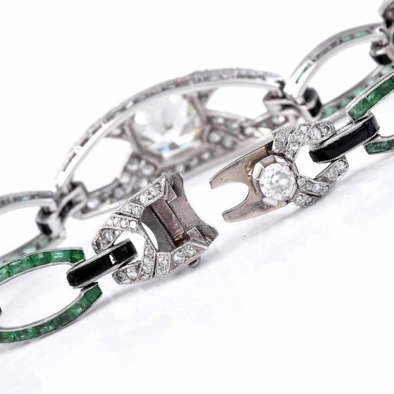Antique Art Deco Onyx Emerald Diamond Platinum Link Bracelet 5