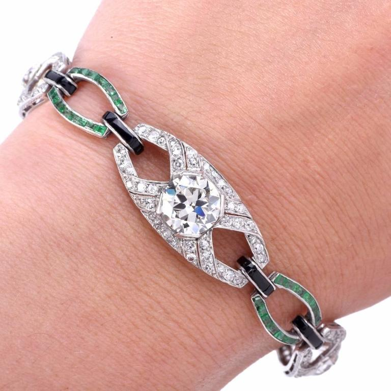 Antique Art Deco Onyx Emerald Diamond Platinum Link Bracelet 3