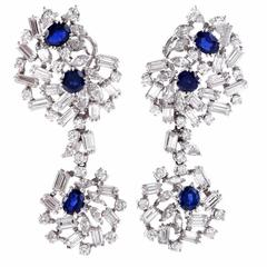 1960s Large Sapphire Diamond Platinum Chandelier Earrings