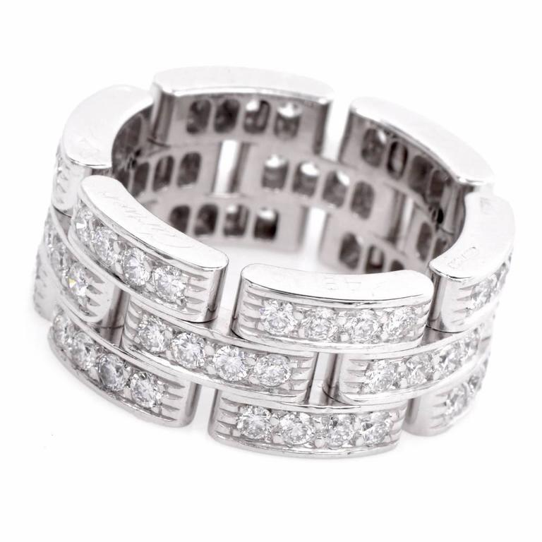 81b8b0849ffb9 Cartier Diamond White Gold Maillon Panthère Wide Band Ring